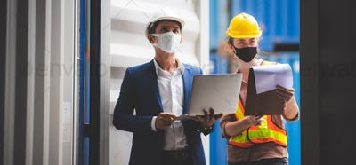 executives businessmen, and engineers or foreman wear medical face masks