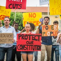 Activists demonstrating against social issues