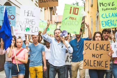 Activists demonstrating against global warming