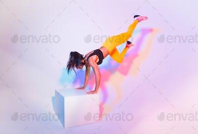 Sportive woman training