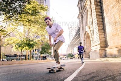 Skaters training in a skate park in New York