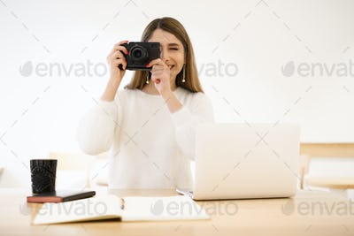 Photography, people and technology concept