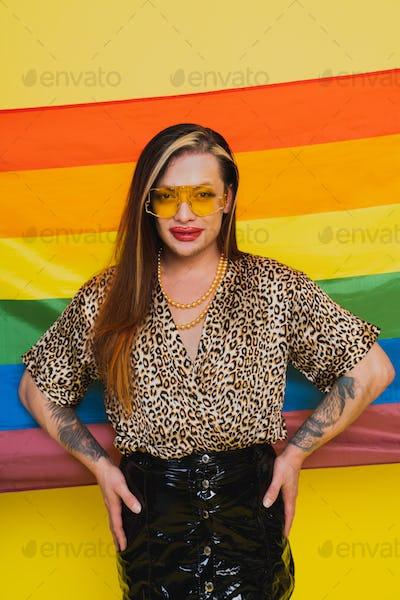 Transgender man fights for human rights, lgbt concept