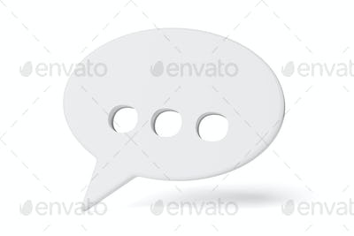 Speech bubble with ellipsis isolated on white. 3D rendering.