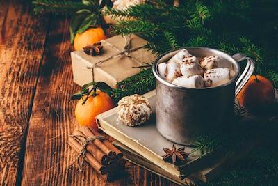 Mug of hot chocolate with marshmallows