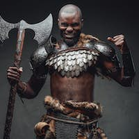 Evil barbaric man with black skin and axe in dark background
