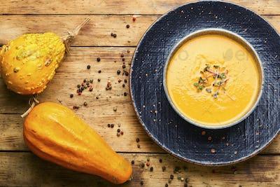 Pumpkin soup and pumpkins