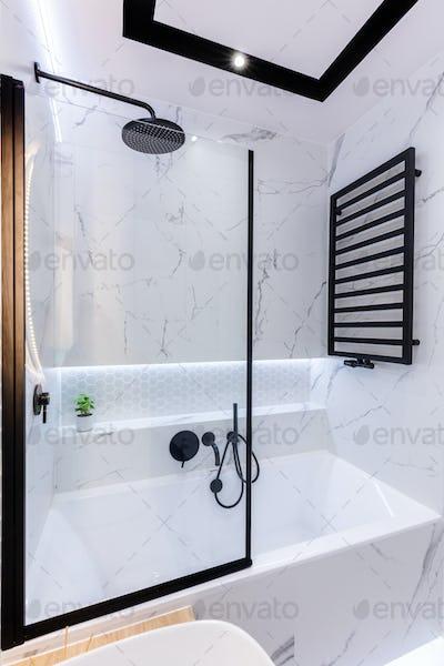 Bath in modern small bathroom interior design