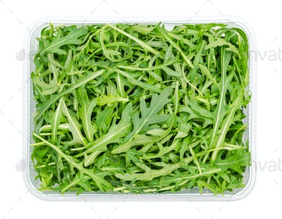 Fresh arugula, raw rocket salad in a plastic container, from above
