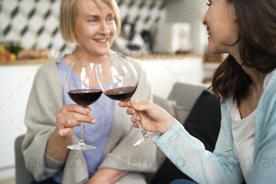 Two generation women toasting in wine at home