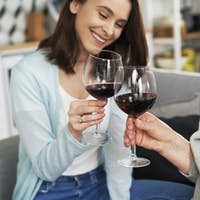 Mother and daughter toasting in wine during family reunion