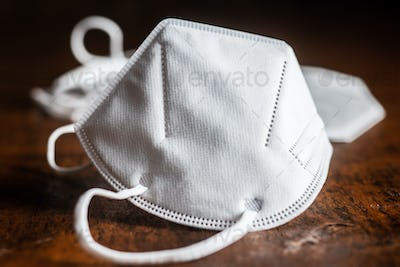 KN95 respirator mask for coronavirus protection. Face mask protects against covid-19 infection.