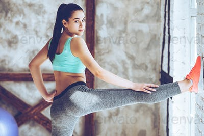 Keeping her legs in great shape.