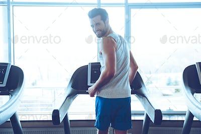 Enjoying his exercising.