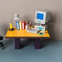 Retro style toy office workplace.