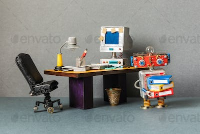 Retro office interior workspace and robot manager.