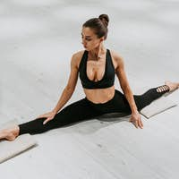 Beautiful girl training in the gym.