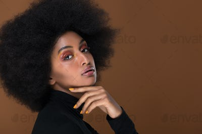 Beautiful african woman studio portraits, concept about lifestyle and beauty