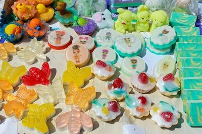 Beautiful colorful handmade soap.