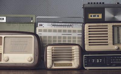 Collection of stylish vintage radios