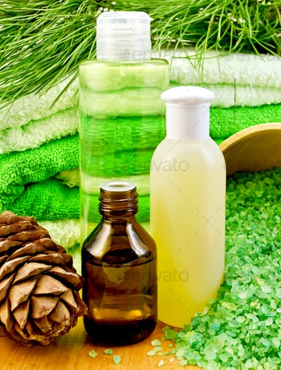 Oil and Gel with cedar cones