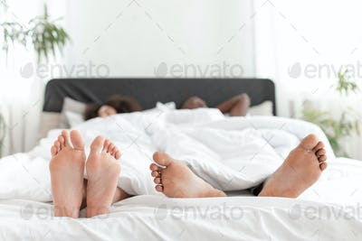 Relax on weekend, romance together and lazy couple at free time in morning
