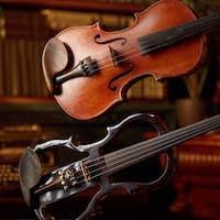 Violin in retro style and modern electric viola