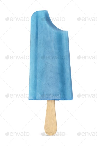 Blue bitten ice cream popsicle isolated on white