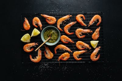 Shrimps with spices on board