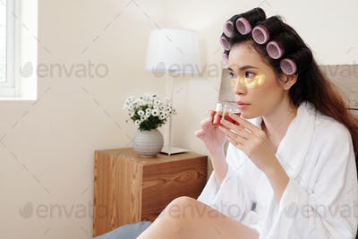 Woman resting with tea cup