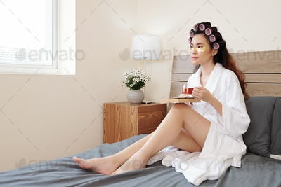 Woman relaxing with book