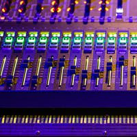 Digital mixer in a recording Studio. Work with sound. The concept of creativity and show business.