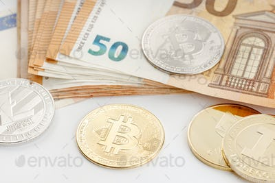 Group of Cryptocurrency coins and Euro banknotes