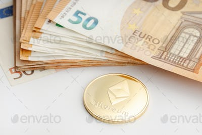 Ethereum coin and Euro banknotes
