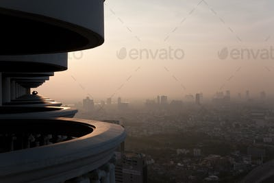 Balcony and view over Bangkok at dawn, Thailand