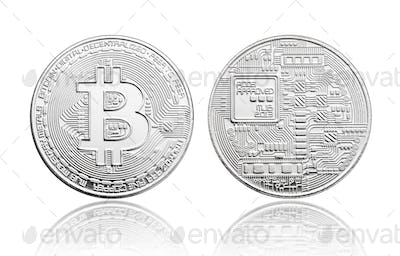 Silver Bitcoin coin isolated on white background