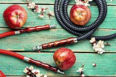 Traditional Eastern hookah shisha with apple