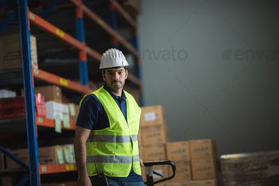 Portrait of a foreman in an international warehouse storage space