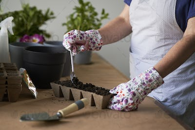 Close up of unrecognizable woman planting seedlings at home