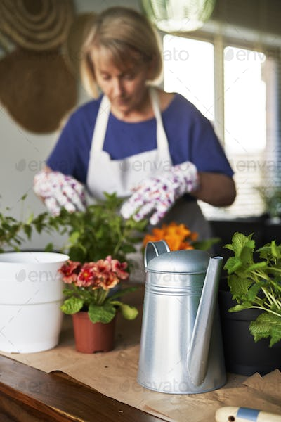 Woman while taking care of her houseplants