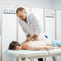 Physiotherapist doing manual treatment