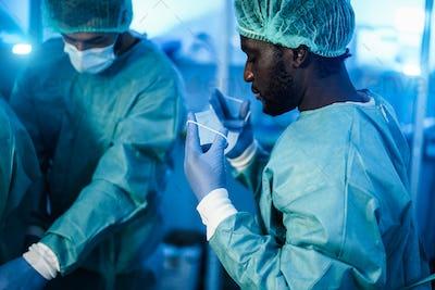 Doctors preparing to work in hospital