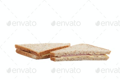 Square ham and cheese sandwich