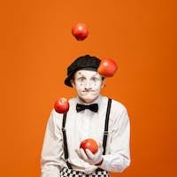 Pantomime on the orange background