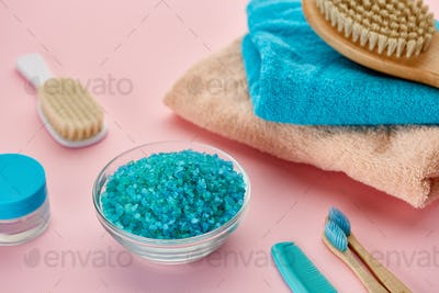Oral and skin care products, closeup view