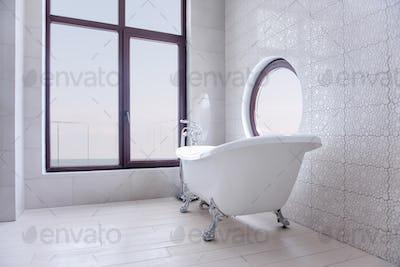 Modern, stylish white bathroom. Trendy round and panoramic windows overlooking the sea, ocean.