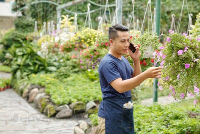 Greenhouse worker calling customer