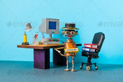 Retro office interior workspace and robot manager. Automation of office work processes