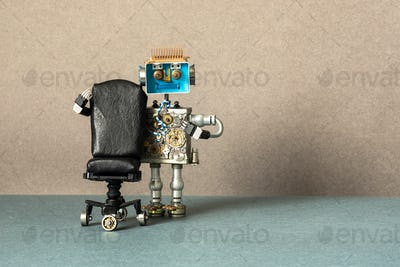 Job search recruitment concept. Robot office manager stands near comfortable black leather chair.
