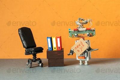 Job search recruitment office specialists. Robot with poster: need a job.